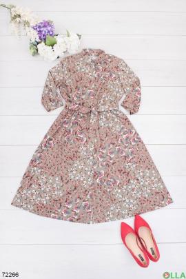 Женское бежевое платье в цветочный принт