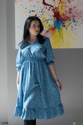 Женское синие платье в принт