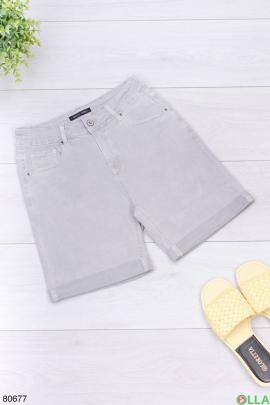 Женские серые джинсовые шорты