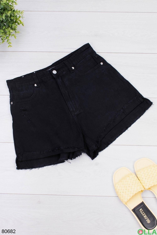 Женские черные джинсовые шорты