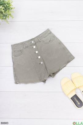 Женская джинсовая юбка-шорты цвета хаки