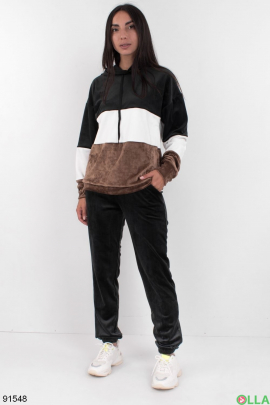 Женский Черно-коричневый спортивный костюм из велюра
