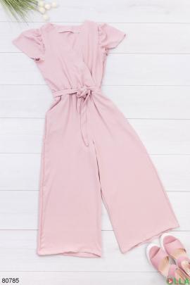 Женский розовый комбинезон с поясом