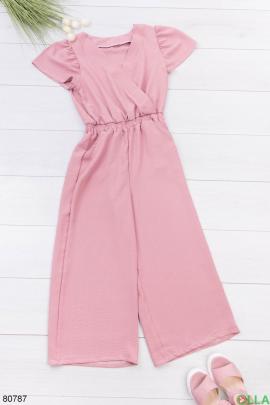 Женский темно-розовый комбинезон с поясом
