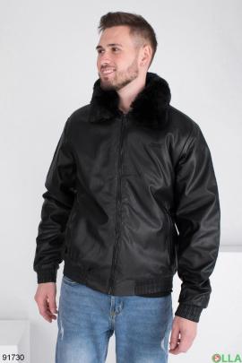 Мужская зимняя черная куртка из эко-кожи