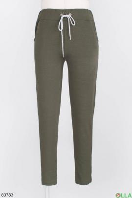 Женские спортивные брюки цвета хаки