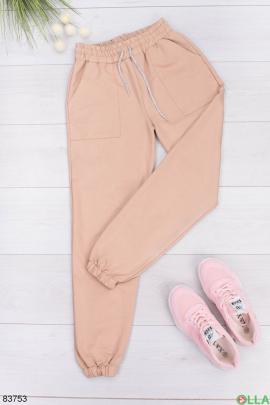 Женские бежевые спортивные брюки