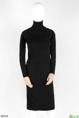 Женский черный трикотажный костюм