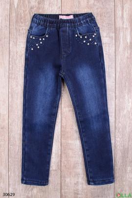 Синие джинсы с бусинами