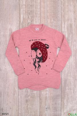 Розовый свитер с рисунком