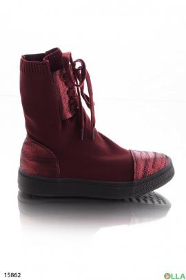Высокие бордовые кроссовки