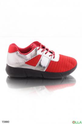 Красные с кроссовки из текстиля