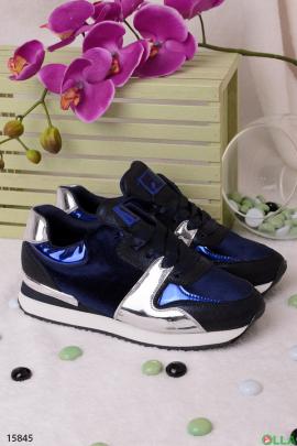Черные с синим  кроссовки