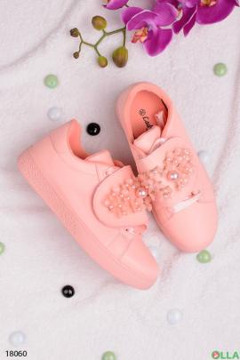 Розовые  кеды с бусинами