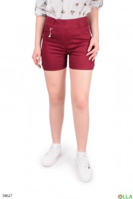 Женские бордовые шорты