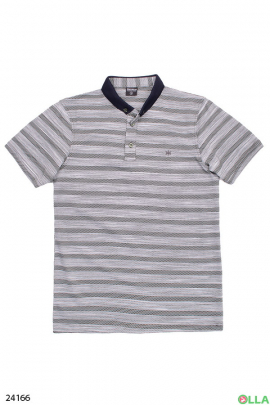 Мужская футболка-поло в полоску