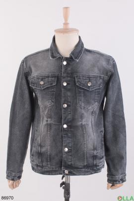Мужская темно-серая джинсовая куртка
