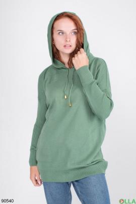 Женский бирюзовый свитер с капюшоном