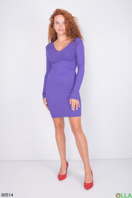 Женское фиолетовое трикотажное платье