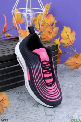 Женские  черно-розовые кроссовки