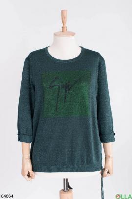 Женский зеленый свитер с люрексом