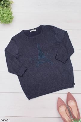 Женский темно-синий свитер с люрексом