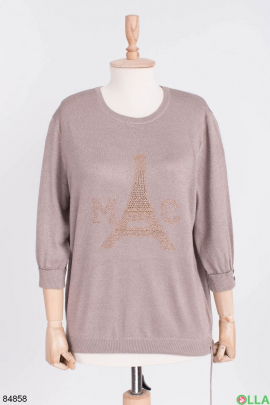 Женский бежевый свитер с люрексом