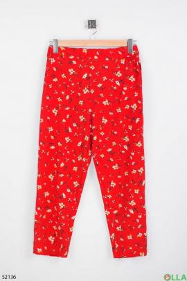 Женские брюки с цветочным принтом