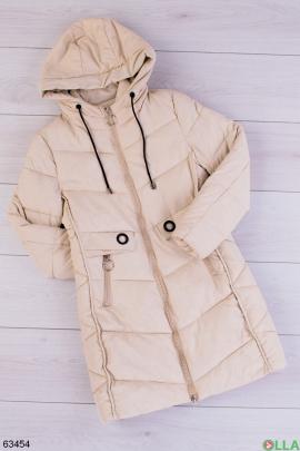 Женская зимняя бежевая куртка
