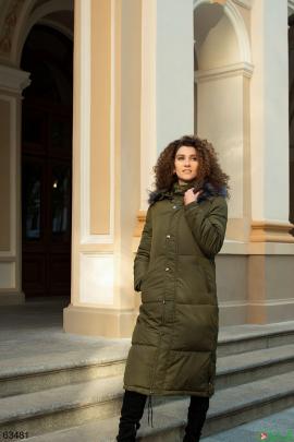 Женская зимняя куртка цвета хаки
