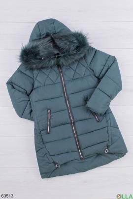 Женская зимняя зеленая куртка