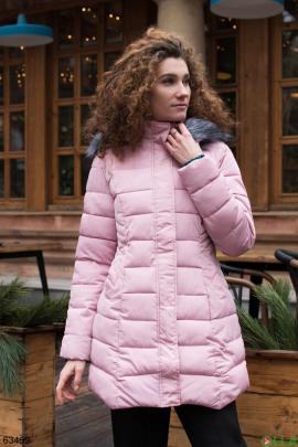 Женская зимняя розовая куртка