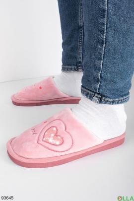 Женские светло-розовые комнатные тапочки
