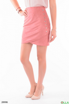 Розовая юбка с заклепками