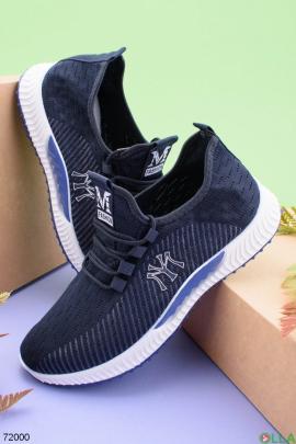 Мужские темно-синие кроссовки на шнуровке