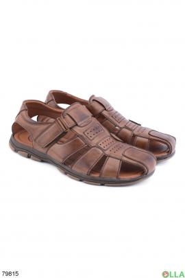 Мужские коричневые туфли с липучкой