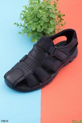 Мужские черные туфли с липучкой