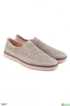 Мужские серые туфли с перфорацией