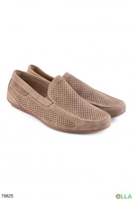 Мужские бежевые туфли с перфорацией