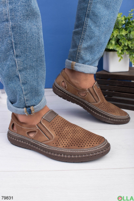 Мужские коричневые туфли с перфорацией
