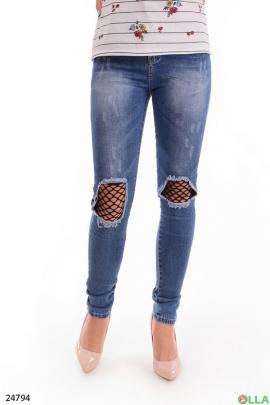 Женские джинсы с  сеткой на коленях