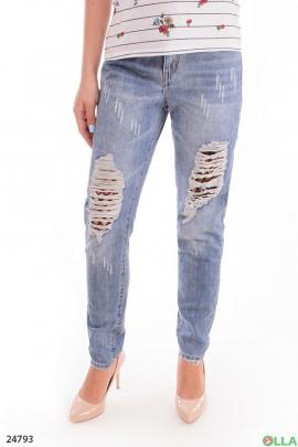Женские джинсы с порванностями и сеткой
