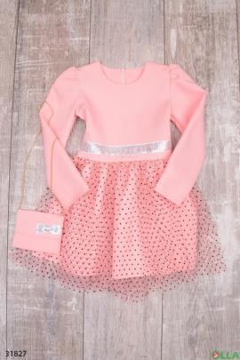 Розовое платье с фатиновой юбкой