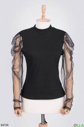 Женская черная кофта с рукавами из фатина
