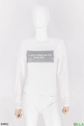 Женское белое боди с надписью
