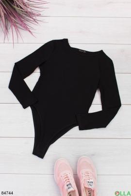 Женское черное боди с длинными рукавами
