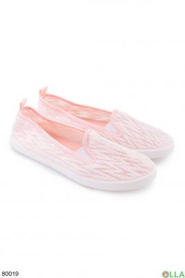 Женские розовые кроссовки без шнуровки
