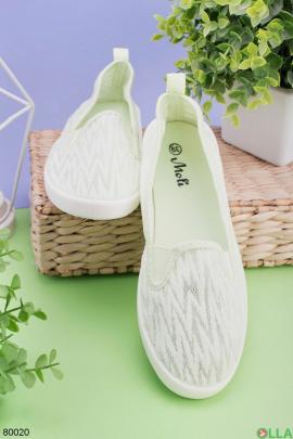 Женские салатовые кроссовки без шнуровки
