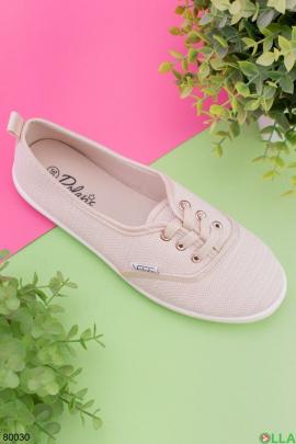 Женские бежевые кроссовки на шнуровке