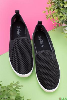 Женские черные кроссовки без шнуровки